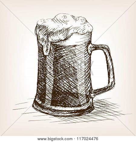 Beer mug hand drawn sketch style vector