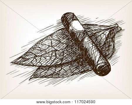 Tobacco leaves and cigar sketch style vector