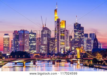 Frankfurt, Germany skyline on the Main River.