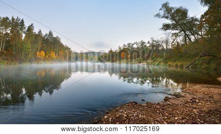 Autumn Gauja River In Sigulda, Latvia