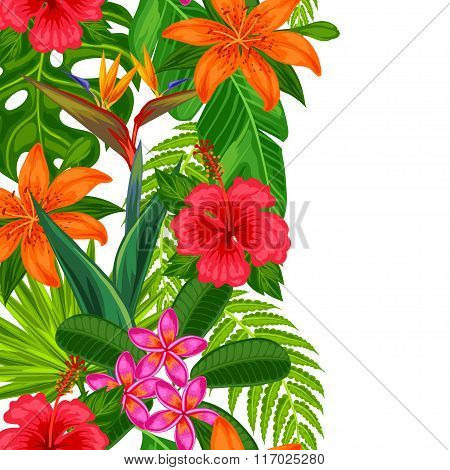 Seamless vertical border with tropical plants, leaves and flowers. Background made without clipping