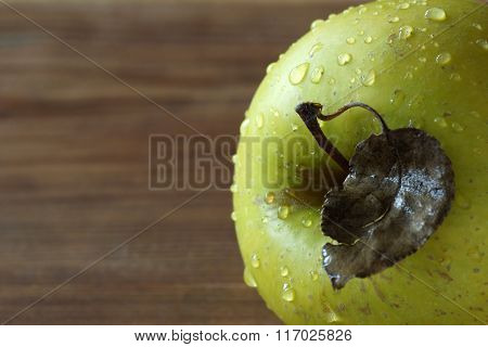 old sheet on a green apple