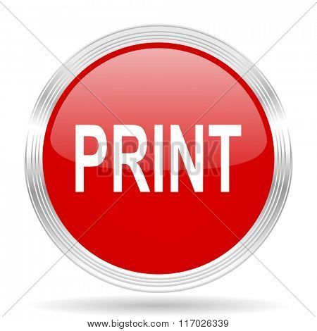 print red glossy circle modern web icon on white background