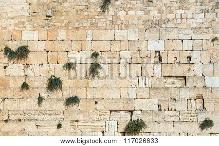 Close up on Western Wall also called Wailing Wall in Jerusalem Israel