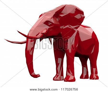 Faceted red elephant
