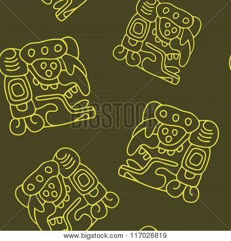 Seamless pattern with American Indians art and ethnic ornaments