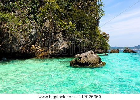 Beautiful Turquoise Water Of The Ocean On Phi-phi Island Thailand