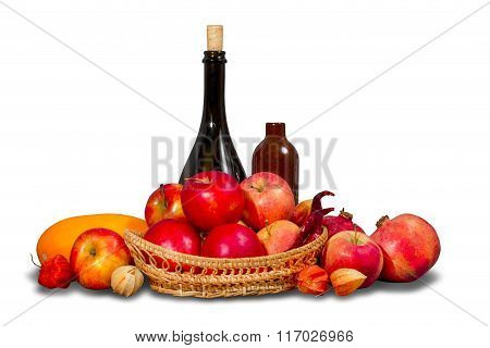 Group of ripe red fruits and vegetables with tableware