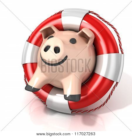 Piggy bank with lifebuoy. Side view