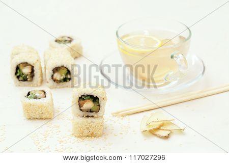 Sesame Sushi Roll And Ginger Tea