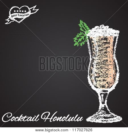 Colored chalk painted illustration of Honolulu cocktail. Best cocktail theme.