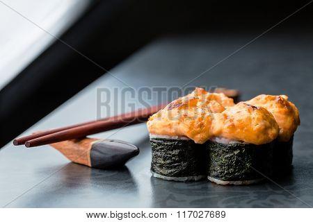 Baked Sushi Roll On Dark