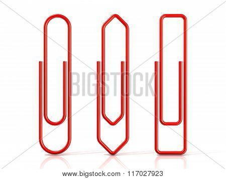 Paper clips.Three basic shapes. Red