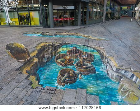 Street art showing optical illusion