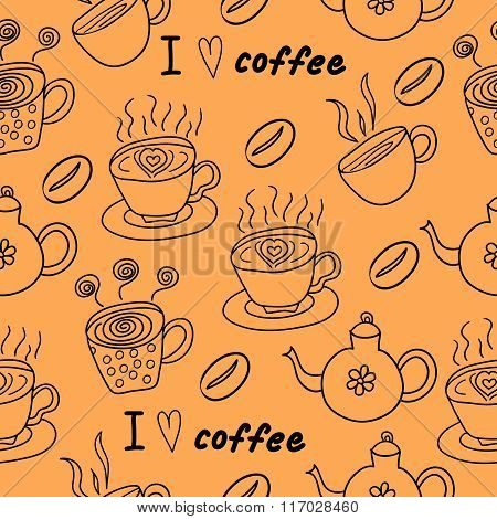 I love coffee seamless pattern