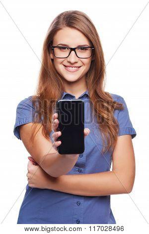 Woman showing blank black smart phone screen
