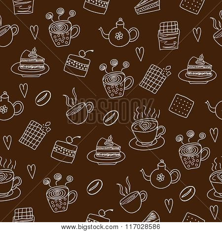 Tea drinking seamless pattern