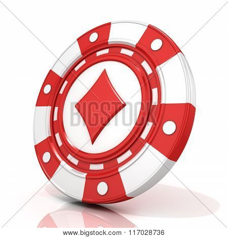 Red gambling chip sign with diamond on it. 3D