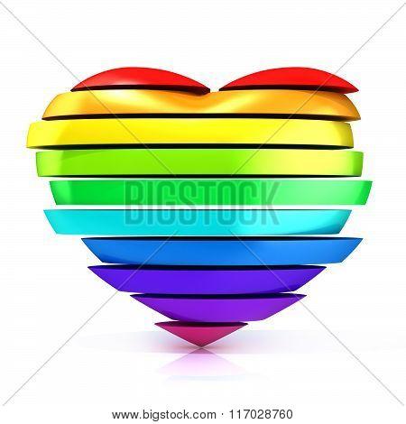 Colorful rainbow heart. 3D