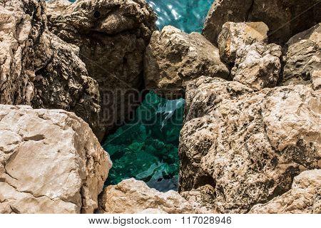 Turquoise sea and rocks