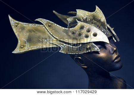 Mannequin in armour head wear with spikes