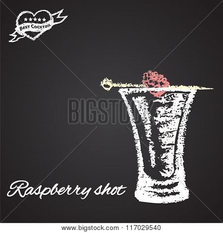 Colored chalk painted illustration of raspberry shot. Best cocktail theme.