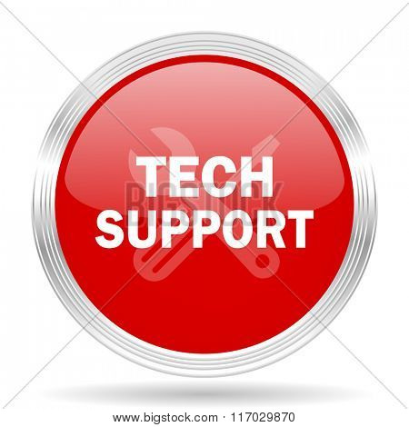 technical support red glossy circle modern web icon on white background