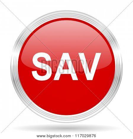 sav red glossy circle modern web icon on white background