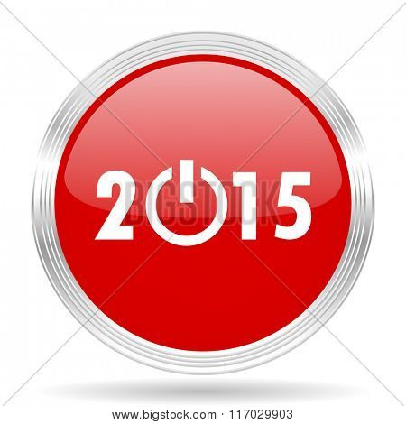 new year 2015 red glossy circle modern web icon on white background