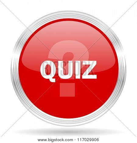quiz red glossy circle modern web icon on white background