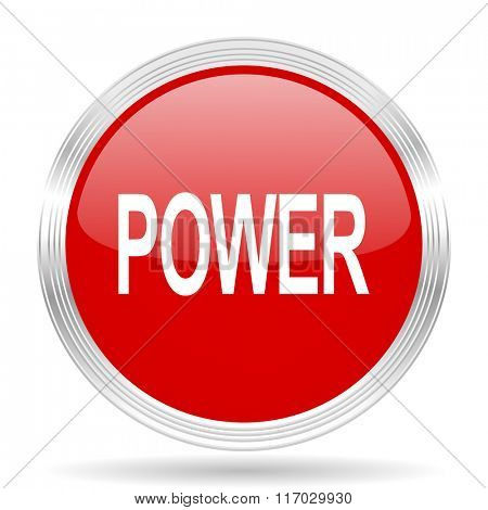 power red glossy circle modern web icon on white background