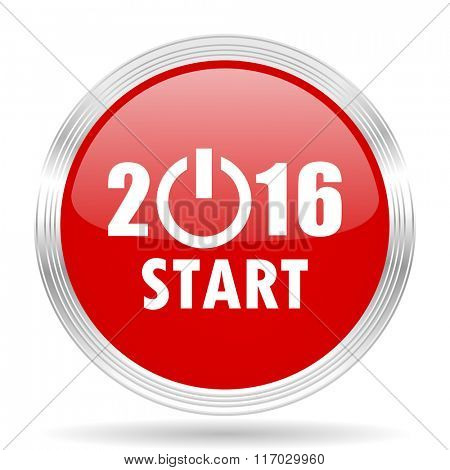 year 2016 red glossy circle modern web icon on white background