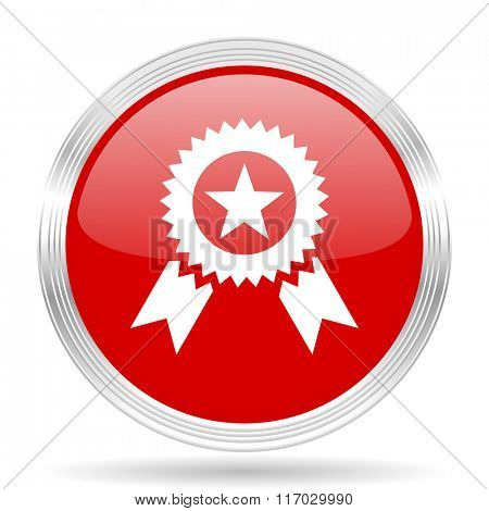 award red glossy circle modern web icon on white background