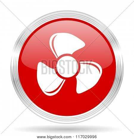 fan red glossy circle modern web icon on white background