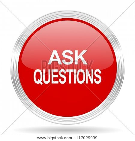 ask questions red glossy circle modern web icon on white background