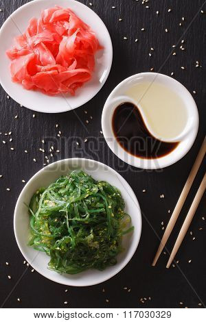 Japanese Wakame Salad And Pickled Ginger Close-up. Vertical Top View