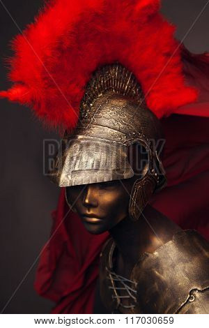 Studio shot of mannequin in armor and in helmet with feathers on head