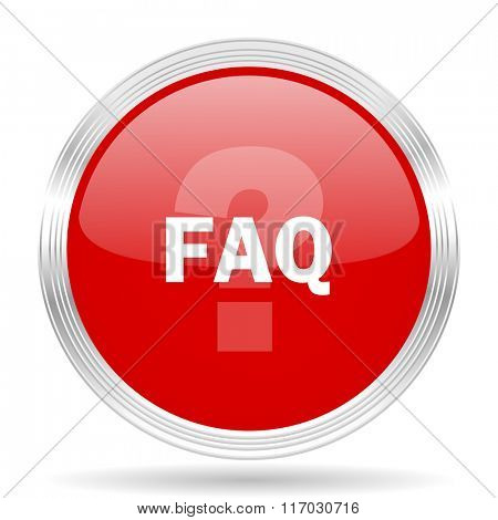faq red glossy circle modern web icon on white background
