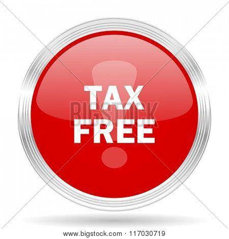 tax free red glossy circle modern web icon on white background