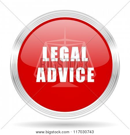 legal advice red glossy circle modern web icon on white background