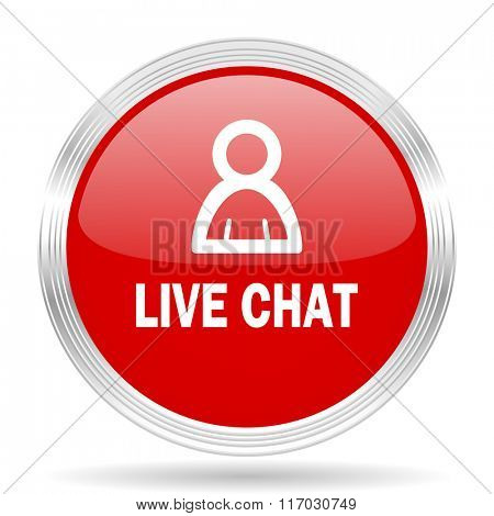 live chat red glossy circle modern web icon on white background