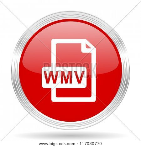 wmv file red glossy circle modern web icon on white background