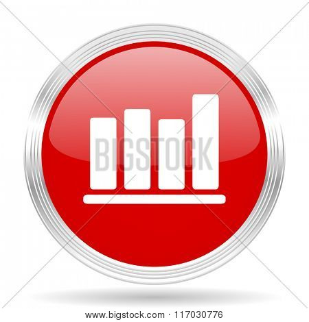 bar chart red glossy circle modern web icon on white background