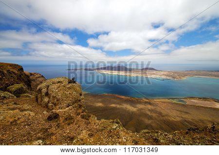Miramar Del Rio Harbor Rock   Cloud Beach  Boat    Lanzarote Spain Graciosa