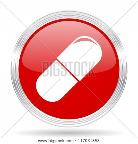 drugs red glossy circle modern web icon on white background