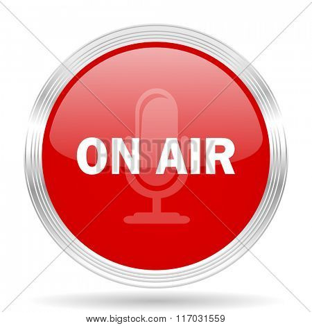 on air red glossy circle modern web icon on white background