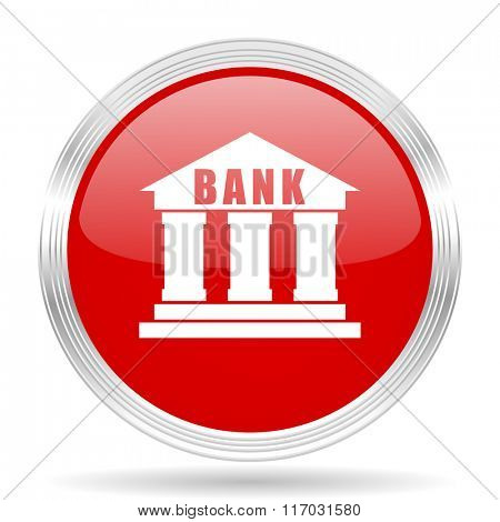 bank red glossy circle modern web icon on white background