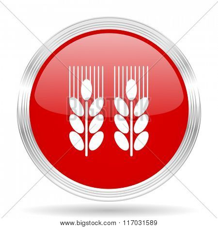 agricultural red glossy circle modern web icon on white background