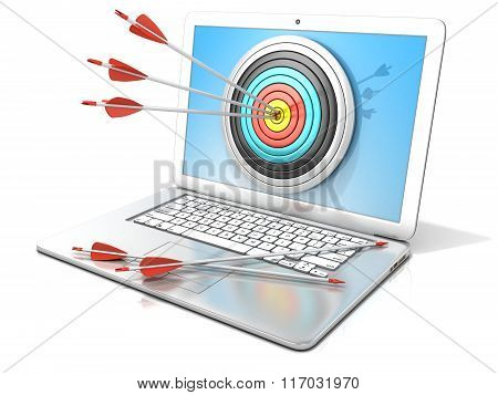 Laptop with archery target and red arrows in the center. 3D