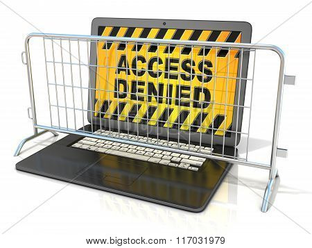 Black laptop with ACCESS DENIED sign on screen and steel barricades. 3D